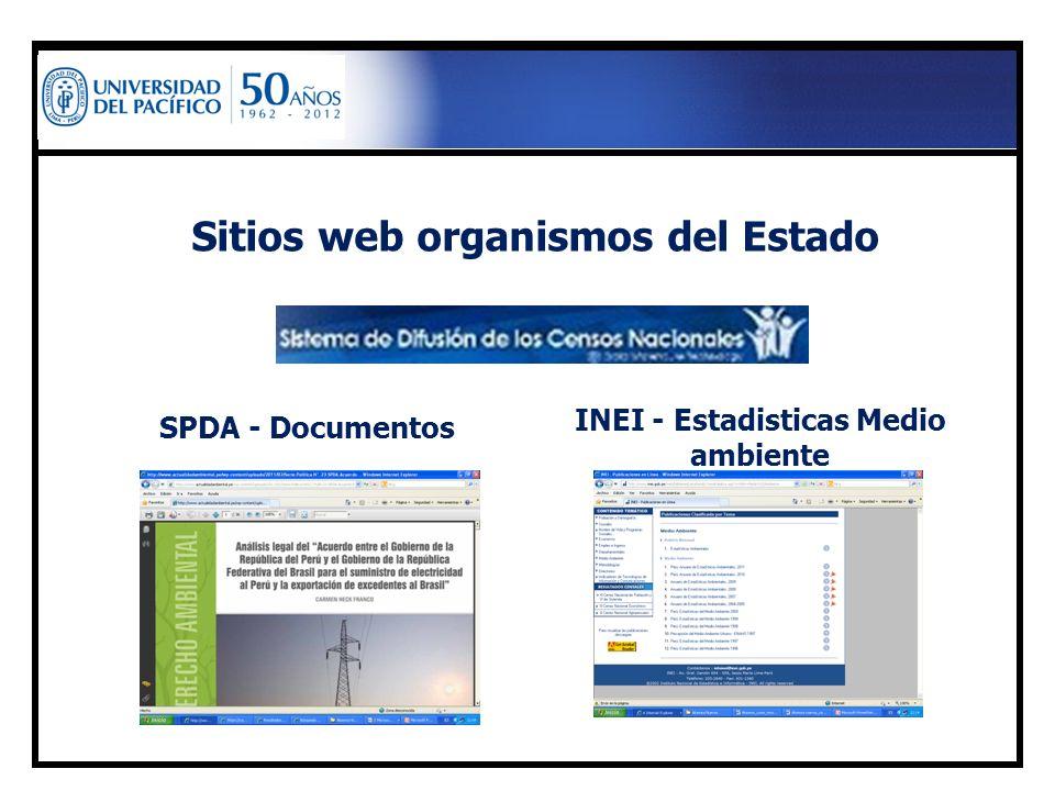 Sitios web organismos del Estado INEI - Estadisticas Medio ambiente