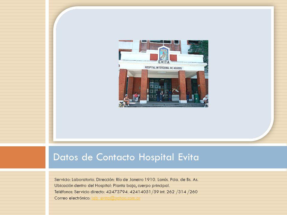 Datos de Contacto Hospital Evita