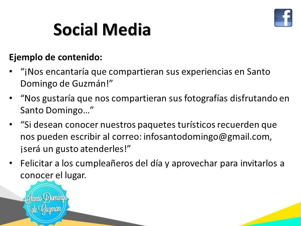 Social Media Ejemplo de contenido: