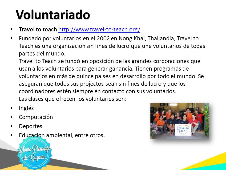 Voluntariado Travel to teach http://www.travel-to-teach.org/
