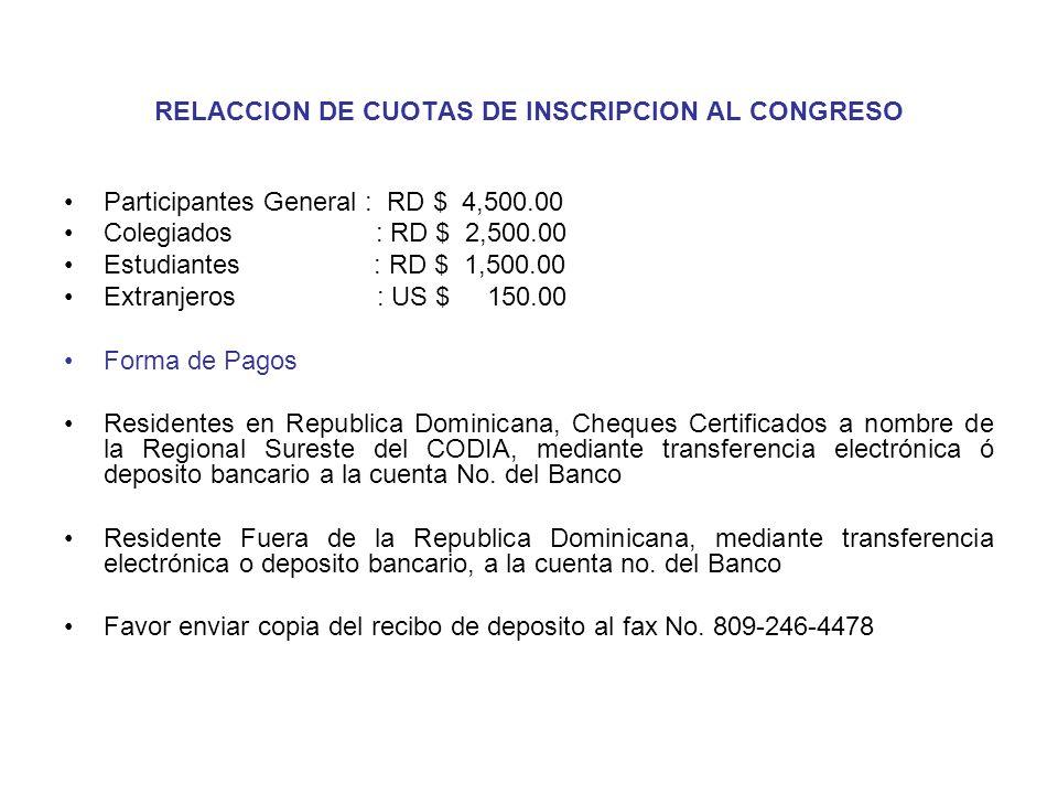 RELACCION DE CUOTAS DE INSCRIPCION AL CONGRESO