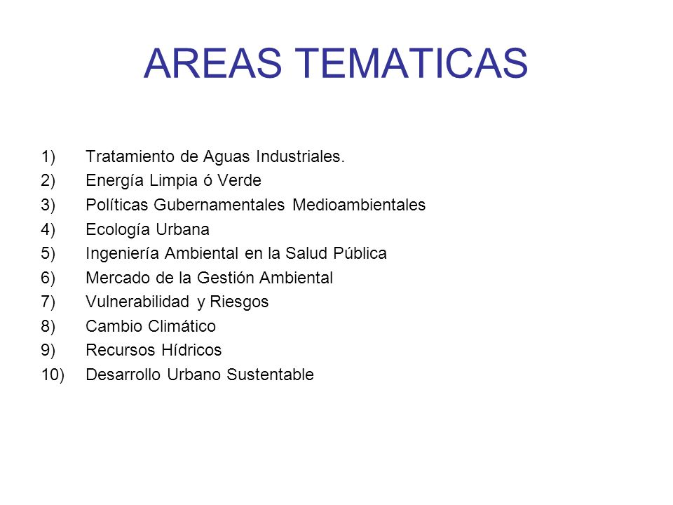 AREAS TEMATICAS Tratamiento de Aguas Industriales.