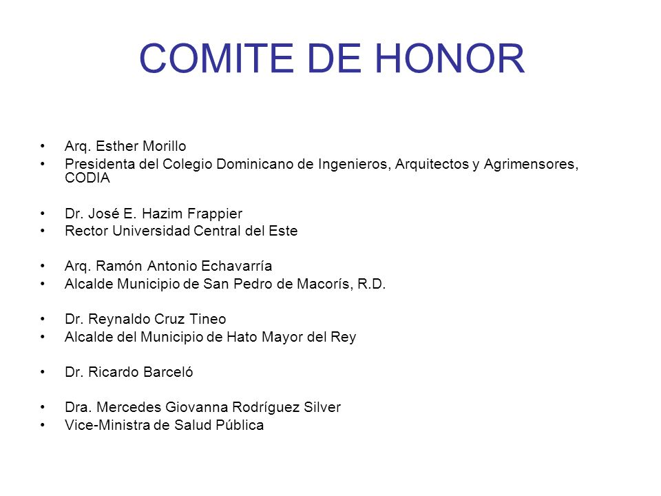 COMITE DE HONOR Arq. Esther Morillo