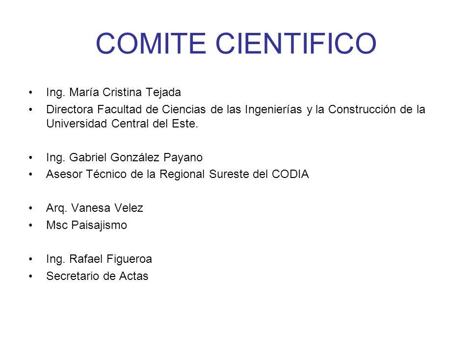 COMITE CIENTIFICO Ing. María Cristina Tejada
