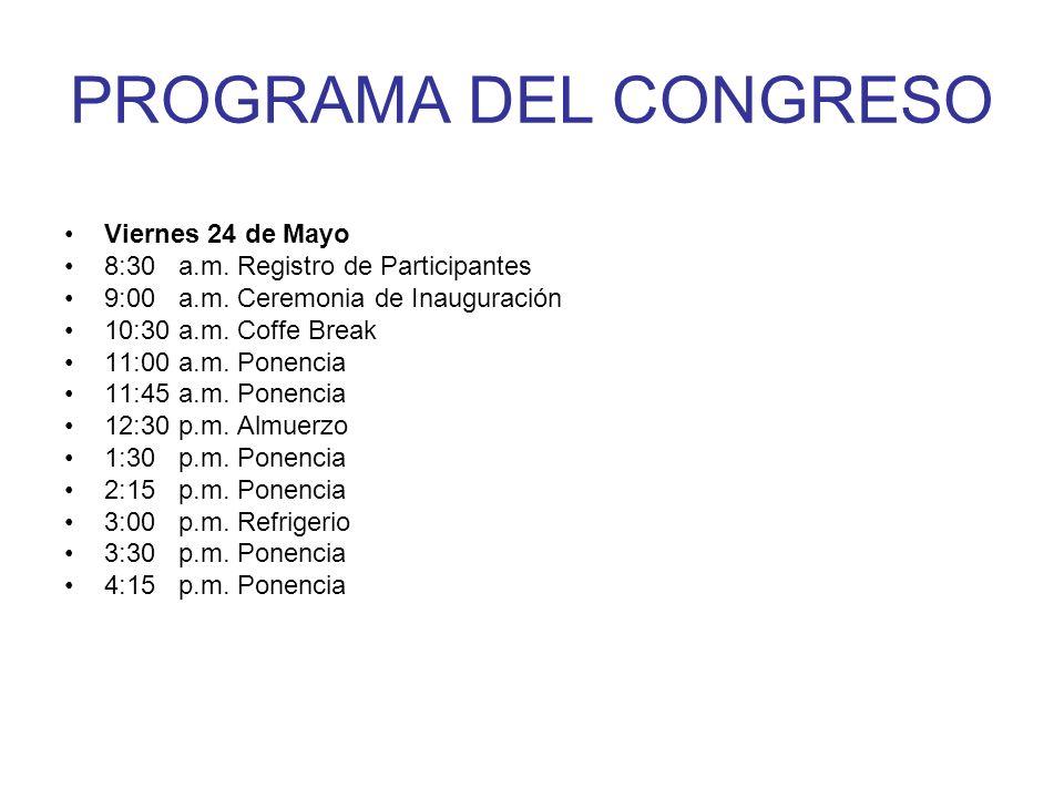 PROGRAMA DEL CONGRESO Viernes 24 de Mayo