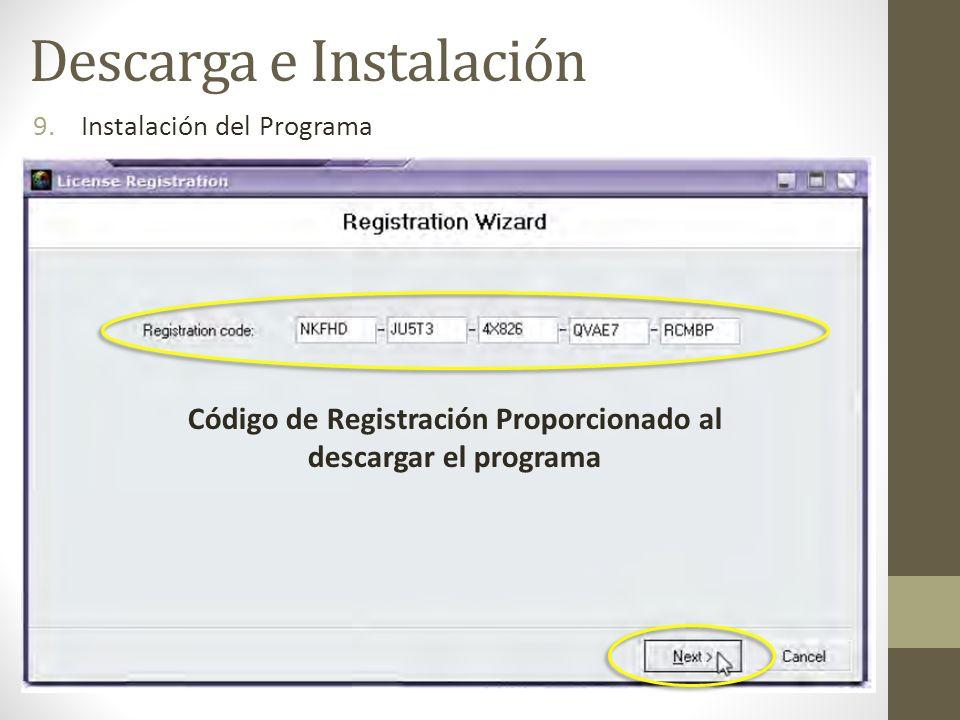 Código de Registración Proporcionado al descargar el programa