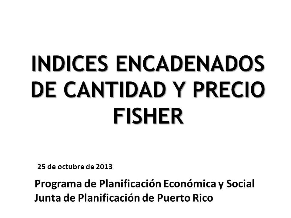 INDICES ENCADENADOS DE CANTIDAD Y PRECIO FISHER