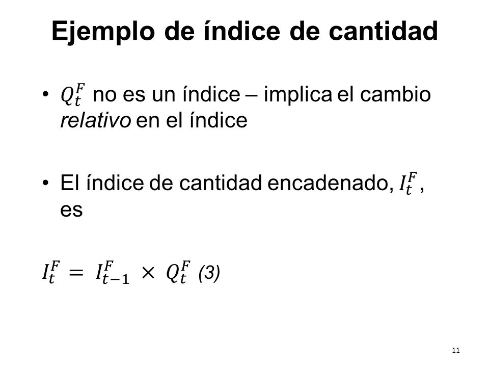 Ejemplo de índice de cantidad