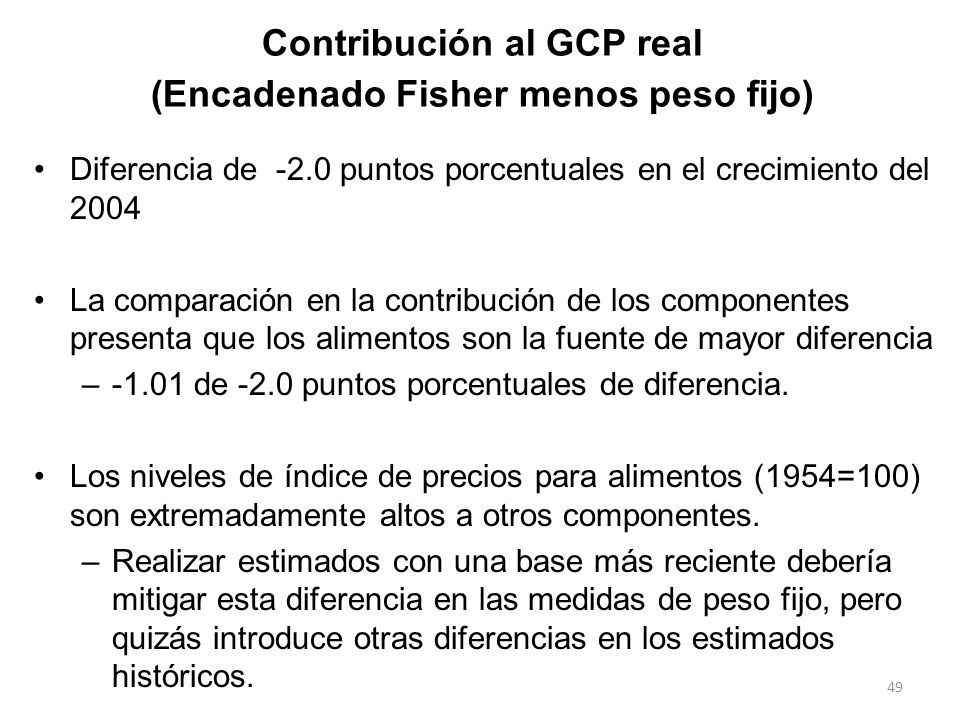 Contribución al GCP real (Encadenado Fisher menos peso fijo)