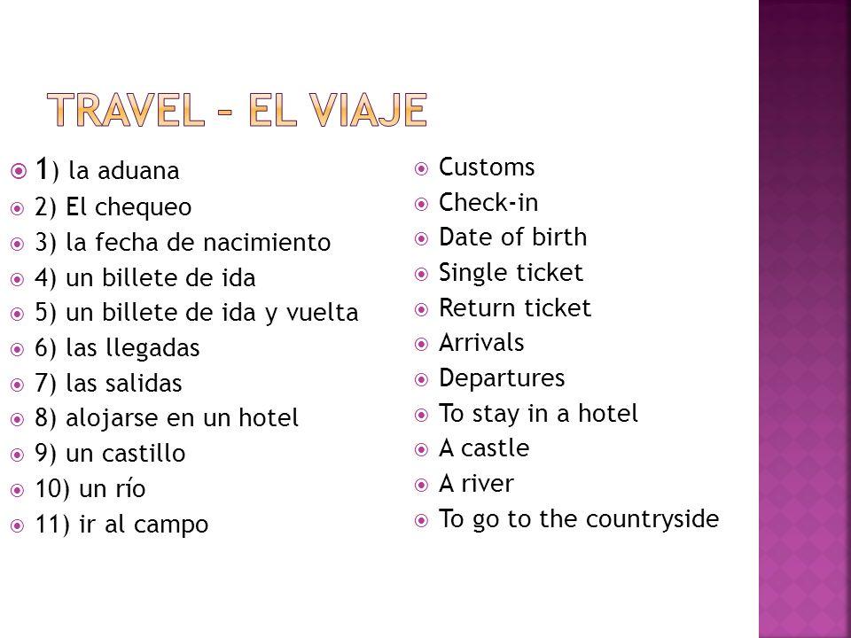 Travel – el viaje 1) la aduana Customs Check-in 2) El chequeo