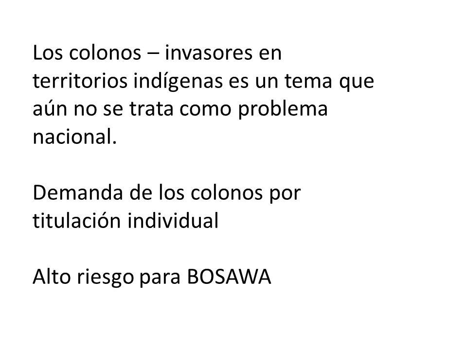 Los colonos – invasores en territorios indígenas es un tema que aún no se trata como problema nacional.