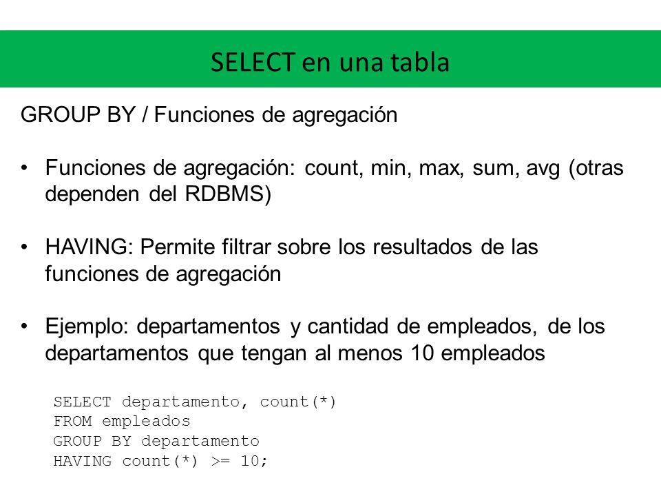 SELECT en una tabla GROUP BY / Funciones de agregación