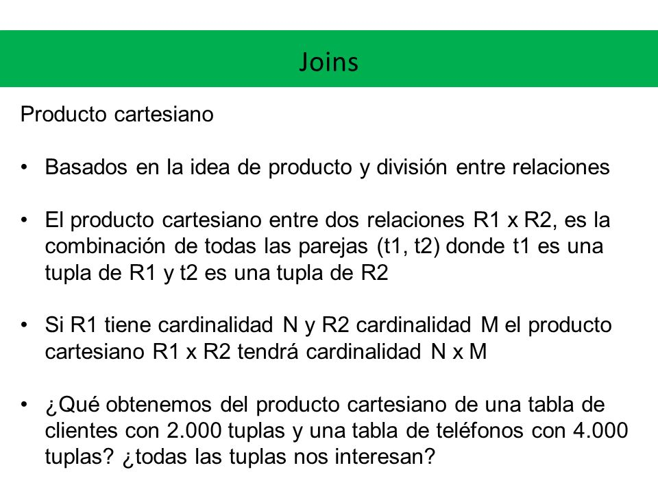 Joins Producto cartesiano