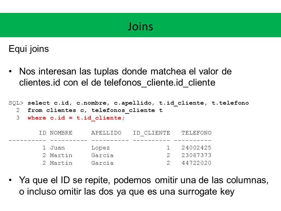Joins Equi joins. Nos interesan las tuplas donde matchea el valor de clientes.id con el de telefonos_cliente.id_cliente.