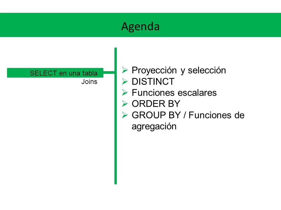 Agenda Proyección y selección DISTINCT Funciones escalares ORDER BY