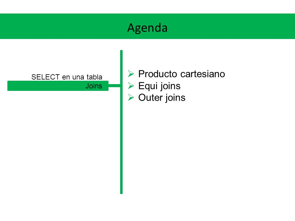 Agenda Producto cartesiano Equi joins Outer joins SELECT en una tabla