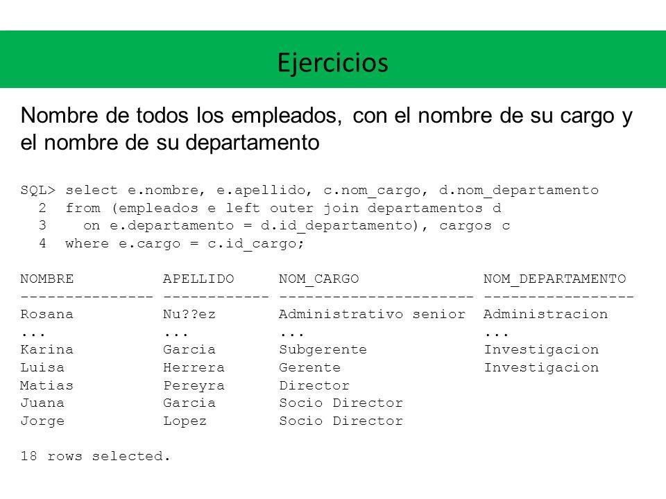 Ejercicios Nombre de todos los empleados, con el nombre de su cargo y el nombre de su departamento.