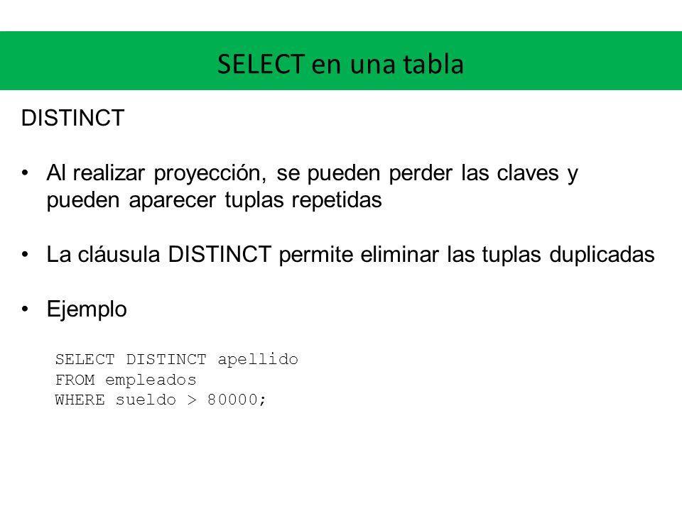 SELECT en una tabla DISTINCT