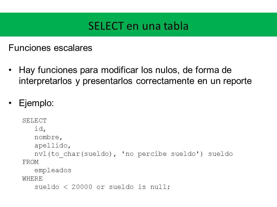 SELECT en una tabla Funciones escalares