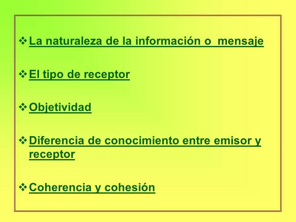 La naturaleza de la información o mensaje