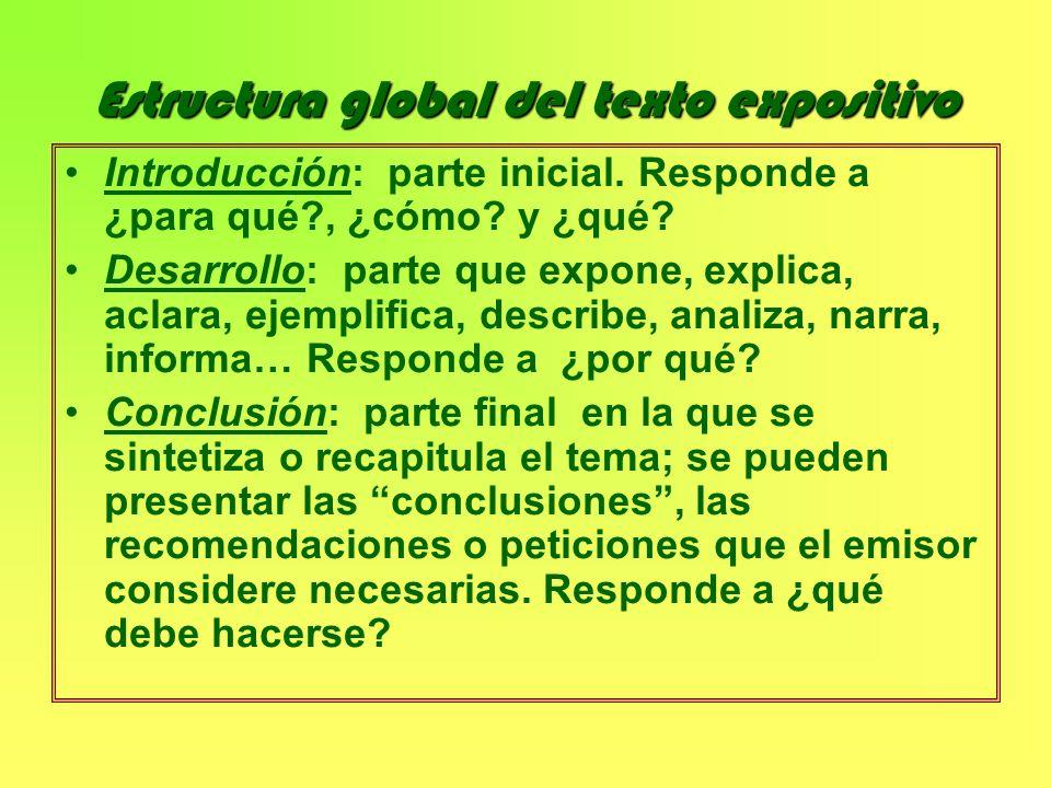 Estructura global del texto expositivo