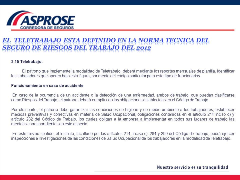 EL TELETRABAJO ESTA DEFINIDO EN LA NORMA TECNICA DEL SEGURO DE RIESGOS DEL TRABAJO DEL 2012