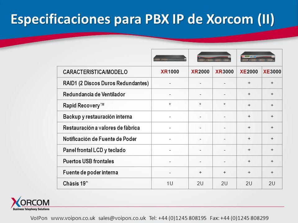 Especificaciones para PBX IP de Xorcom (II)