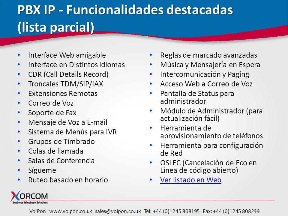 PBX IP - Funcionalidades destacadas (lista parcial)