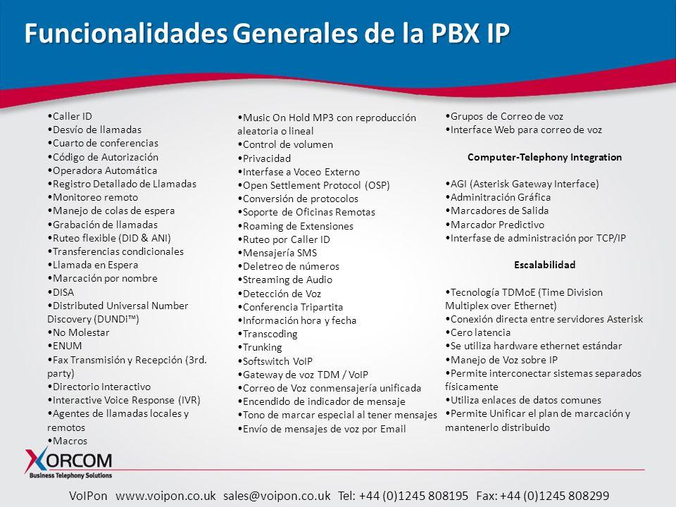 Funcionalidades Generales de la PBX IP