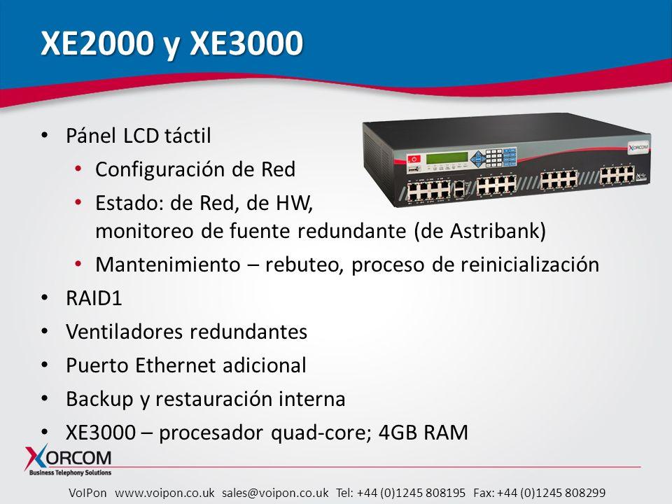 XE2000 y XE3000 Pánel LCD táctil Configuración de Red