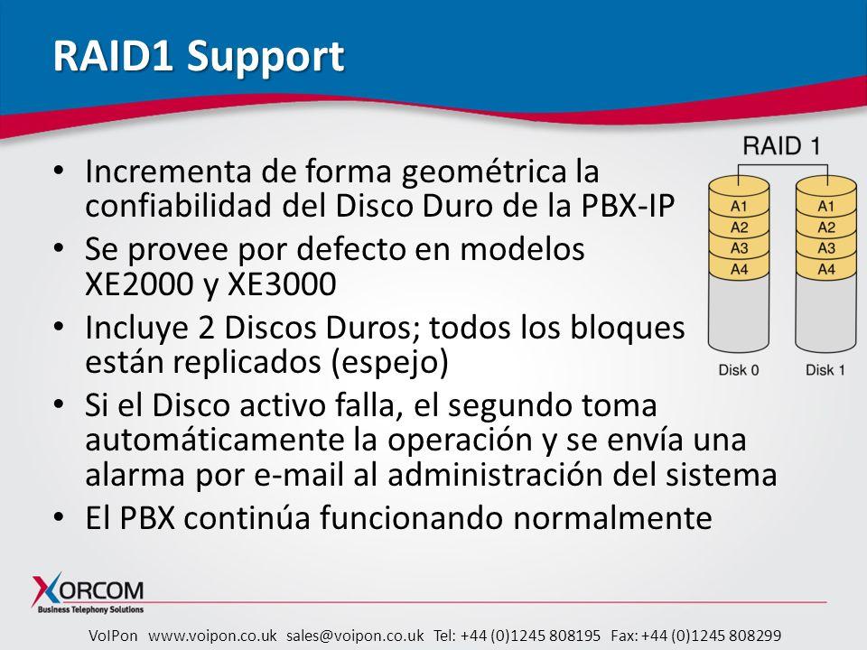 RAID1 Support Incrementa de forma geométrica la confiabilidad del Disco Duro de la PBX-IP. Se provee por defecto en modelos XE2000 y XE3000.
