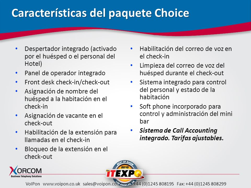Características del paquete Choice