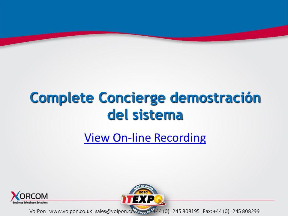 Complete Concierge demostración del sistema