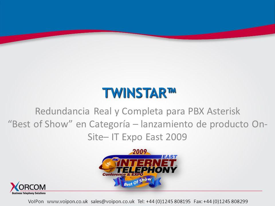 TWINSTAR™ Redundancia Real y Completa para PBX Asterisk Best of Show en Categoría – lanzamiento de producto On-Site– IT Expo East 2009.