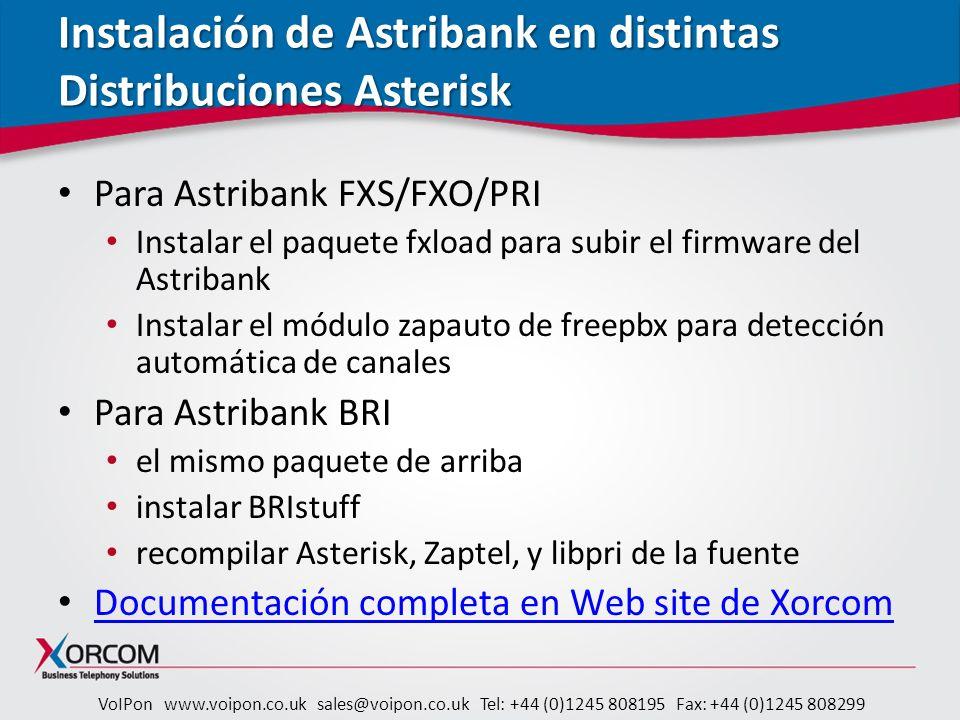 Instalación de Astribank en distintas Distribuciones Asterisk