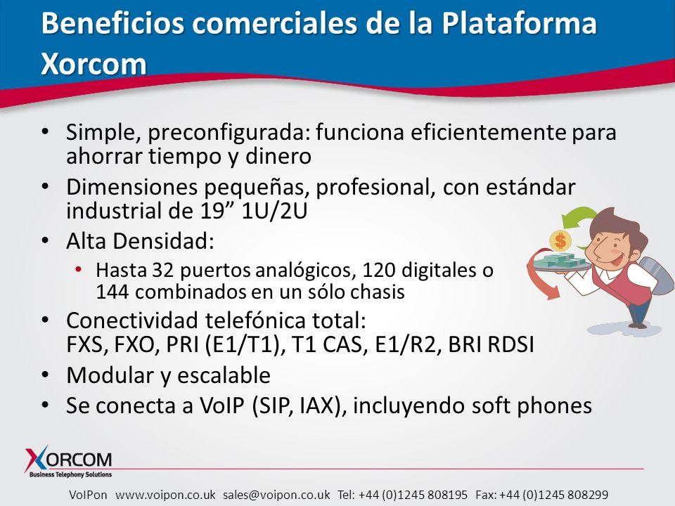 Beneficios comerciales de la Plataforma Xorcom