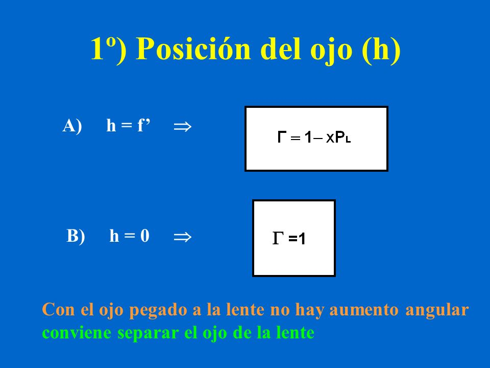 1º) Posición del ojo (h) A) h = f'    =1= 1 B) h = 0 