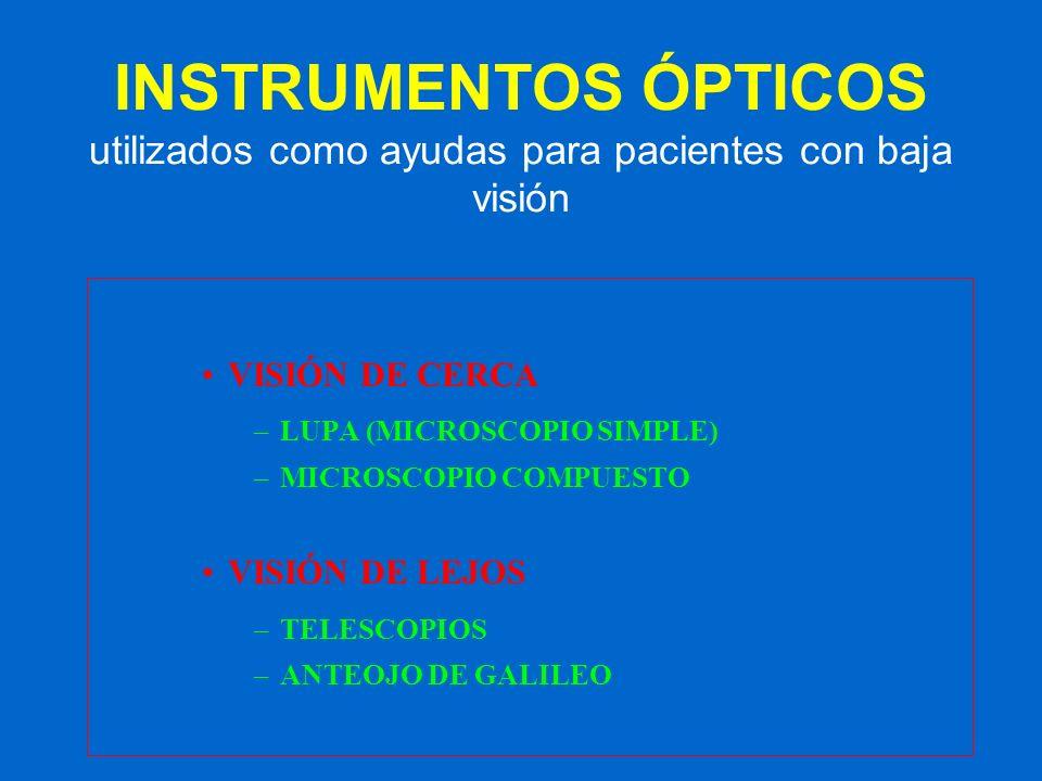 INSTRUMENTOS ÓPTICOS utilizados como ayudas para pacientes con baja visión