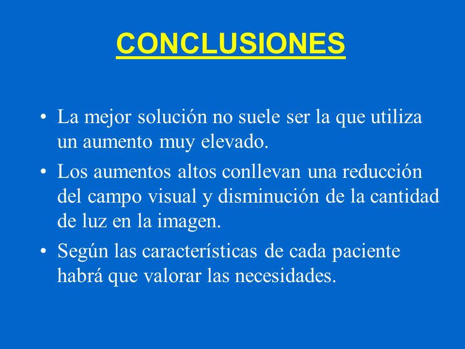 CONCLUSIONES La mejor solución no suele ser la que utiliza un aumento muy elevado.