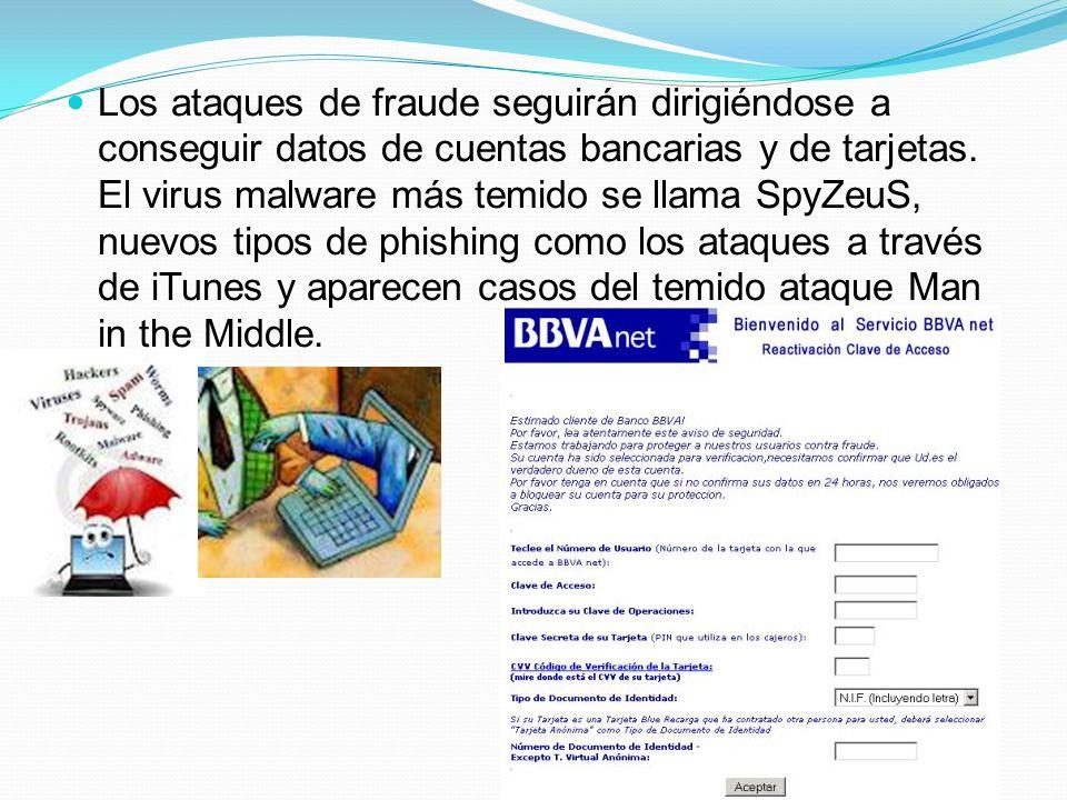 Los ataques de fraude seguirán dirigiéndose a conseguir datos de cuentas bancarias y de tarjetas.