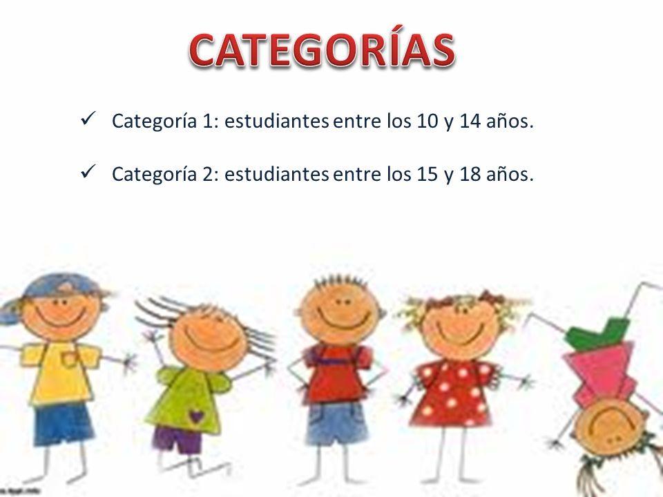 CATEGORÍAS Categoría 1: estudiantes entre los 10 y 14 años.