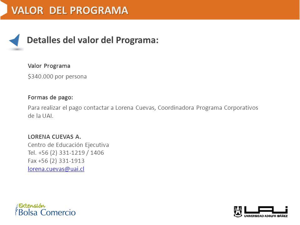 VALOR DEL PROGRAMA Detalles del valor del Programa: Valor Programa