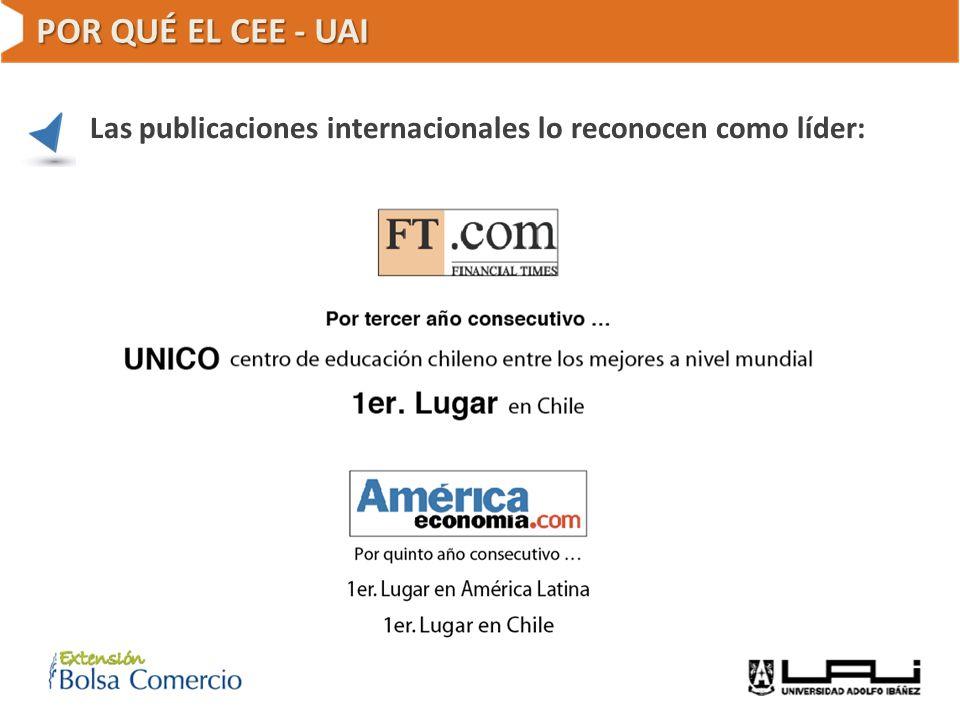 POR QUÉ EL CEE - UAI Las publicaciones internacionales lo reconocen como líder: