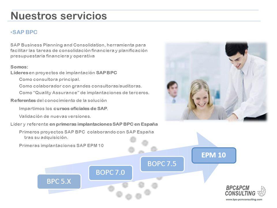 Nuestros servicios EPM 10 BOPC 7.5 BOPC 7.0 BPC 5.X SAP BPC