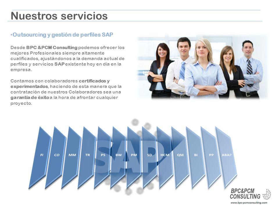 Nuestros servicios Outsourcing y gestión de perfiles SAP