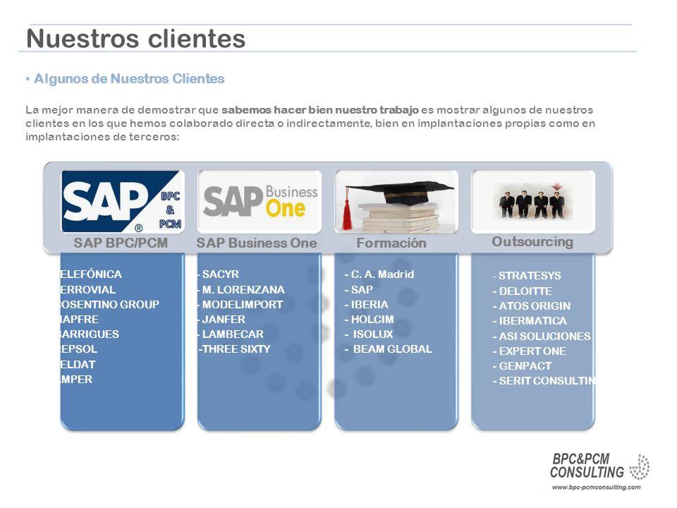 Nuestros clientes Algunos de Nuestros Clientes SAP BPC/PCM