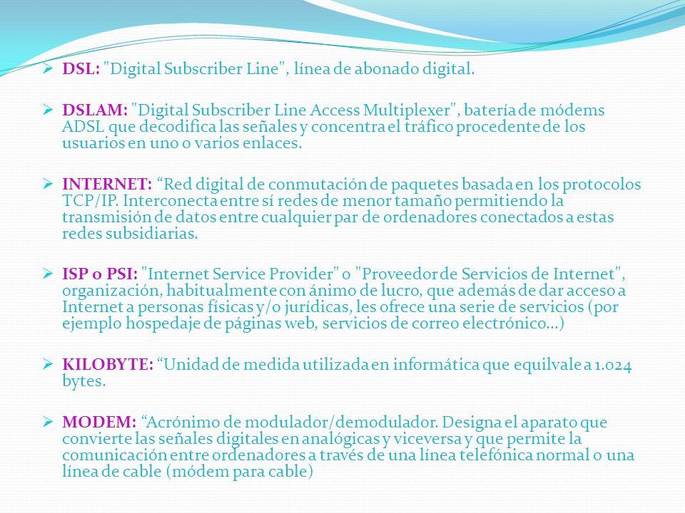 DSL: Digital Subscriber Line , línea de abonado digital.
