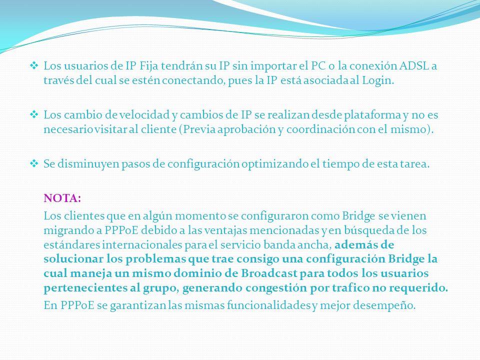 Los usuarios de IP Fija tendrán su IP sin importar el PC o la conexión ADSL a través del cual se estén conectando, pues la IP está asociada al Login.