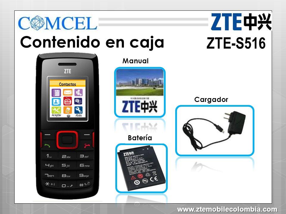Contenido en caja ZTE-S516 Manual Cargador Batería