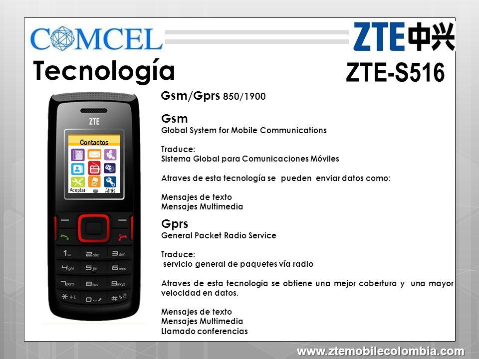 Tecnología ZTE-S516 Gsm/Gprs 850/1900 Gsm Gprs